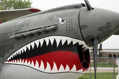 this is what the person before me said and i can tell by the looking at the propeller that its a Warhawk. Thats kinda sad considering I am a 13 year old girl. But anyways, BEAUTIFUL plane. I love the WWIIs! Ww2 Aircraft, Fighter Aircraft, Military Aircraft, Fighter Jets, Shark Head, Shark Mouth, Bomber Plane, Aircraft Painting, P51 Mustang