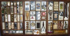 I like assemblage art. This old print tray is loaded with little antiques and oddities and everyday ephemera.