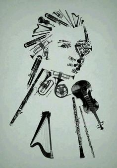 Mozart, made old Musical Instruments, collage art, illustration, black and white.