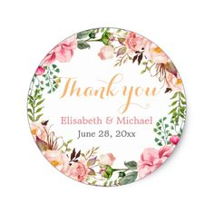 Shop Wedding Favor Romantic Floral Decor Thank You Classic Round Sticker created by CardHunter. Wedding Favour Sweet Jars, Wedding Favor Labels, Floral Wedding Invitations, Wedding Favors, Wedding Venues, Wedding Ideas, Wedding Planning, Chic Wedding, Wedding Stationery
