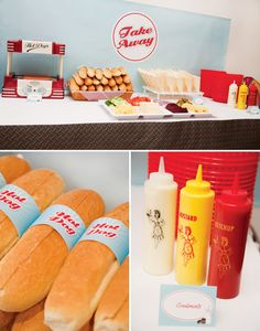 Retro diner styled hot dog bar. Styled by Belle.