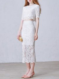 Pierced Lace Two Piece Evening Dress