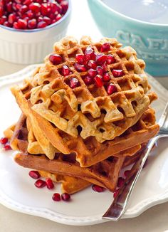 Clean Eating Gluten Free Applesauce Waffles -- This recipe makes a large batch of freezer friendly gluten free waffles for an easy breakfast.
