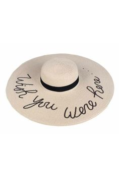 965f1af908c Amtal Wide Brim Embroidered Beach Pool Floppy Summer Vacation Sun Hat (Talk  to the Sand)