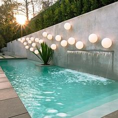 Contemporary Water Feature Wall Fountain Pool Lighting