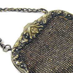SALE Antique Victorian Purse French Cut Steel Purse with Ornate Art Nouveau Bag Frame, German Silver with Sterling Clip