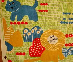 CATS Fabric LIONS Novelty Juvenile Screen Print House n Home Cotton vintage 1960s 70s.