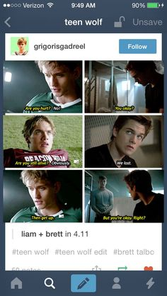 Liam & Brett I don't ship it cause I feel like they would have a very brotherly relationship << I ship because I feel like Brett would be seem kind of emotionless but really he cares so much about his little hot head Liam Teen Wolf Br, Teen Wolf Time, Teen Wolf Funny, Teen Wolf Dylan, Teen Wolf Cast, Dylan O'brien, Tv Memes, Briam, Wolf Stuff