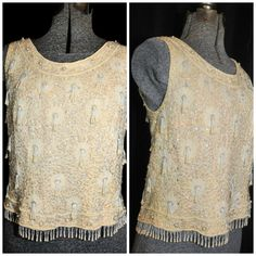 VTG 50's 60's Beaded Sequin Shell Top / Starburst by CicelysCloset