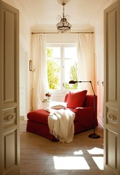 @ back room bright cozy red chair and curtains like this ...