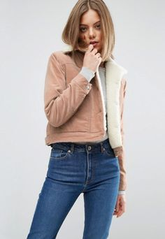 ASOS Crop Velveteen Jacket in Pale Pink With Borg Collar