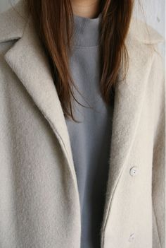beige coat & grey top #style #fashion