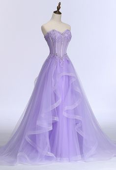 A Line Sweetheart Corset Purple Tulle Ruffle Applique Beaded Prom Dress Cute Prom Dresses, Prom Outfits, Ball Dresses, Pretty Dresses, Beautiful Dresses, Ball Gowns, Puffy Dresses, Quince Dresses, Lavender Quinceanera Dresses
