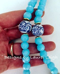 Blue and White Chinoiserie Beaded Necklace light blue spa