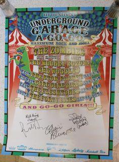 Underground Garage A Go Go The Zombies Signed Poster Rod Argent Colin Blunstone Underground Garage, Rock Posters, Zombies, Signs, Shop Signs, Sign