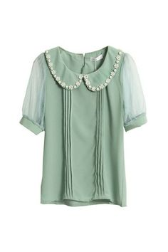 Pearl Embellished Sweet Green Shirt