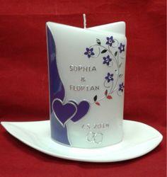 Candle & Rings - Hochzeitskerze 2 Herzen lila