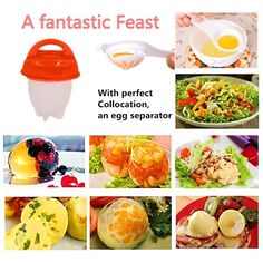 Egg Cooker Hard & Soft Maker and Separators, Poached Boiled Eggs Steamer, BPA Free, No Shell, Non Stick Silicone, AS SEEN ON TV , 6 Egg Cups Egg Cups, Awesome Kitchen, See On Tv, Boiled Eggs, Steamer, Cool Kitchens, Cantaloupe, Cooker