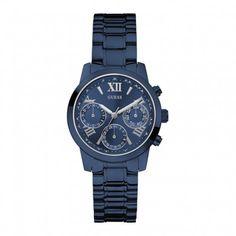 Koop dit GUESS Ladies Sport horloge W0448L5 horloge online in onze webwinkel.                     Dit is een dames horloge met een quartz uurwerk.                             De kleur van de kast is blauw en de kleur van het uurwerk is blauw.                             De kast is gemaakt van edelstaal, zirkonia en de band van het horloge van edelstaal.                             Het uurwerk is analoog en er wordt gebruik gemaakt van mineraal.                                  ...