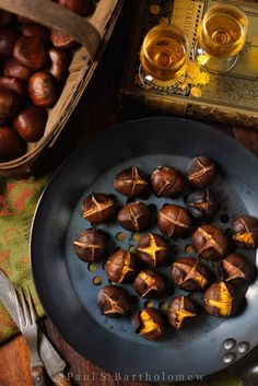 Roasted Chestnuts | The Framed Table. Cut an x on flat side then bake 15-20 minutes at 400°