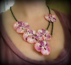 Crocheted pansy necklace