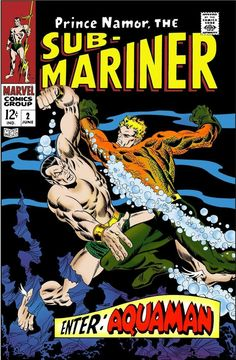Aquaman goes toe-to-toe (or fin-to-fin) against Namor, the Sub-mariner! Created by Sasqwatch Media Disney Marvel, Marvel Vs, Marvel Dc Comics, Marvel Heroes, Comic Book Superheroes, Marvel Comic Books, Comic Books Art, Book Art, Marvel And Dc Crossover