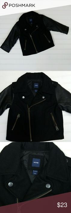 Baby gap Black jacket size 18 to 24 months This is a baby gap boys black wool blend Jacket with faux leather arms . Never used in great condition . Baby Gap Jackets & Coats