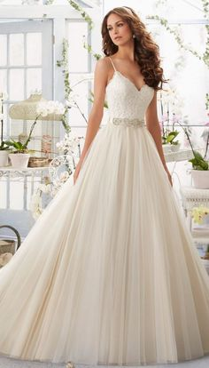Mori Lee aline tulle wedding dress - Deer Pearl Flowers / http://www.deerpearlflowers.com/wedding-dress-inspiration/mori-lee-aline-tulle-wedding-dress/