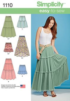 Easy-to-sew, easy-to-wear and perfect for summer! Misses skirt pattern features three tiers with yarn pom trim, lace overlay, high low hemline, or two tiers in knee length or mini. Pattern also includes belt.