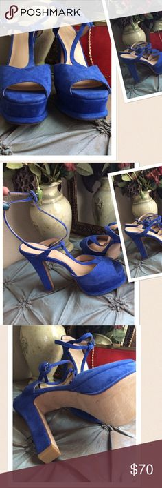 """Zara Basic Collection Platform Final Price❌❌ Zara Basic Platform. Sexy Strappy design. Size: 41 will fit a size 9. 6"""" heel with 1.5"""" platform. Color: Electric Blue. Display model. Never worn. New without box. If this condition is not right for you do not purchase.🍸🍸🍸Cheers from Denver Boutique. Zara Shoes Platforms"""