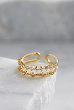 Versona double pave brass bar ring #Versona