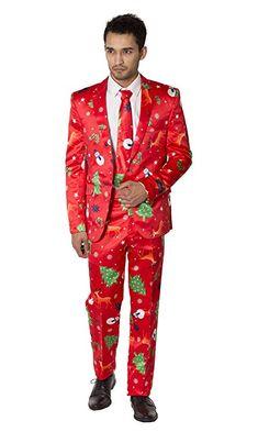 Amazon.com  Mens Slim Fit Fancy Dress Novelty Christmas Suit Costume   Clothing d05a96c6b522c