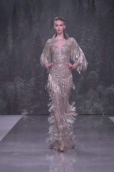 Ziad Nakad Look Fall Winter Haute Couture Collection Stunning Embroidered Desert Sand Sweetheart Sheath Evening Maxi Dress / Evening Gown with Long Sleeves. Fashion Runway by Ziad Nakad Haute Couture Dresses, Style Couture, Haute Couture Fashion, Gala Dresses, Bridal Dresses, Abed Mahfouz, Collection Couture, Chanel Cruise, Fantasy Dress