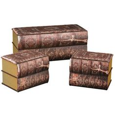 Sterling Industries 170-001/S3 Antique Book Trunks - Set of Three