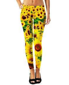 Sunflowers are known as the happiest flower. Help everyone around you enjoy their happiness with the Sunflower Leggings from Let's Rage. Production Time: 3-10 business days Shipping: USA: 4-10 busines