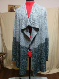 BUY IT NOW! FREE SHIPPING!  Shawl Front Cardigan Two Tone Gray RD Style Size Large Soft & Fuzzy  | eBay