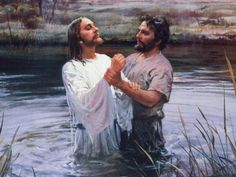 Jesus being baptized by John the Baptist in the Jordan River