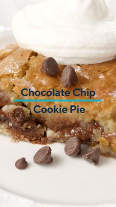 What's better than a chocolate chip cookie?! Chocolate Chip Cookie Pie! 🍪 This recipe for Chocolate Chip Cookie Pie is a delicious take on the classic chocolate chip cookie, but with a rich and buttery pie filling that's soft on the inside and perfectly crisped on the outside. Served warm, this decadent dessert recipe comes together easily with supermarket shortcut ideas!   #chocolatechipcookiepie #chocolatechip #pie #cookie #dessert #sweets #kitchenaid #kitchenaidstandmixer Pie Recipes, Cookie Recipes, Dessert Recipes, Desserts, Chocolate Chip Cookie Pie, Drinks Alcohol Recipes, Kitchenaid, Yummy Food, Sweets