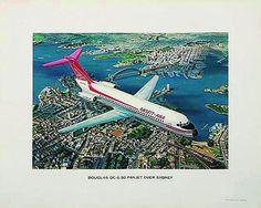 Ansett ANA DC-9 Over Sydney Poster