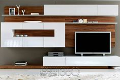Gallery 03 Modern Wall Unit by Milmueble I like the backing board Campbell in light Italian poplar Living Room Storage, Living Room Tv, Home And Living, Tv Wall Design, Tv Unit Design, House Design, Muebles Rack Tv, Modern Wall Units, Muebles Living