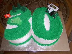 """Golf 30th Birthday Cake - Chocolate Chocolate Chip cake with Mint Chocolate Chip icing.  She said """"He loves mint chocolate chip"""".  Just wanted the """"30"""" in a golf theme."""