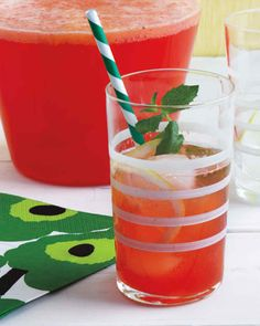 This fruity lemonade comes from celebrity chef Emeril Lagasse who loves the flavor and rosy hue the strawberries add this classic thirst-quenching beverage.
