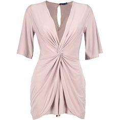 Boohoo Jesmin Slinky Twist Front Skort Style Playsuit ($30) ❤ liked on Polyvore featuring jumpsuits, rompers, pink romper, pink rompers, playsuit romper, golf skirts and pink skort
