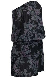 Styleboom Fashion Damen Bandeau Jumpsuit 2 Taschen Blumen Gummizug schwarz…