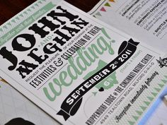 Great combination of typefaces for this fun wedding invite