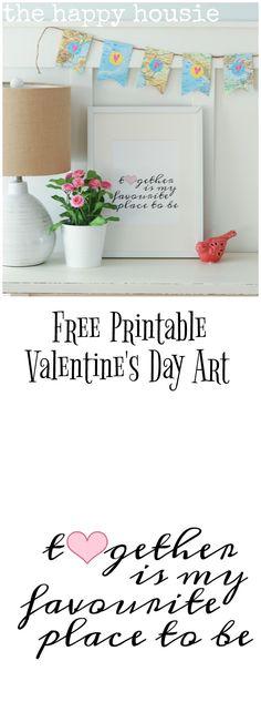 Free Printable Valentine's Day Art & a Valentine's Day Vignette
