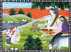 Gods paying homage to Shiva and Parvati and Parvati is shown busy in doing Kantha work, Kangra, early 19th century. A folio of Shiva Purana.