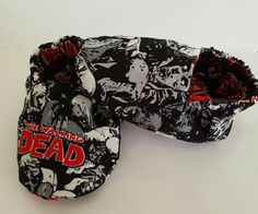Glow in the dark walking dead reversible baby booties!  Etsy page: https://www.etsy.com/shop/ItsyBitsyBooties?ref=search_shop_redirect