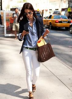 Denim and White Skinny Jeans