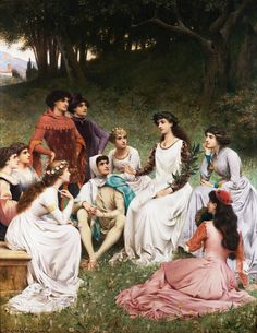 The Storyteller,  Painting by Jacques Clement Wagrez,  French,  1846 - 1908